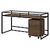 60W Glass Top Writing Desk with 2 Drawer Mobile File Cabinet