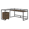 60W Glass Top L Shaped Desk with 2 Drawer Mobile File Cabinet