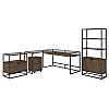 60W Glass Top L Shaped Desk with Bookcase and File Cabinets