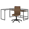 60W Glass Top L Shaped Desk with Mid Back Ribbed Leather Office Chair