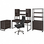 60W Desk with Hutch, File Cabinet, Bookcase and High Back Office Chair
