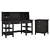 60W Desk with Storage Shelves, Small Hutch Organizer and File Cabinet