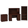 Office Desk with Hutch, Lateral File Cabinet and 5 Shelf Bookcase