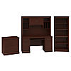 Credenza Desk with Hutch, Lateral File Cabinet and 5 Shelf Bookcase