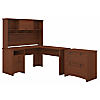 L Shaped Desk with Hutch and Lateral File Cabinet