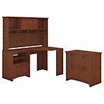 Corner Desk with Hutch and Lateral File Cabinet