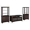 TV Stand with Set of 2 Tall Library Storage Cabinets
