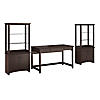 Writing Desk with Set of 2 Tall Library Storage Cabinets