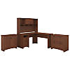 L Shaped Desk with Hutch, Lateral File and Small Storage Cabinet