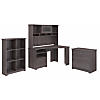 Corner Desk with Hutch, Lateral File Cabinet and 6 Cube Bookcase