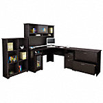 L Shaped Desk with Hutch, 6 Cube Organizer and Lateral File Cabinet