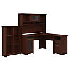 L Shaped Desk with Hutch and 6 Cube Bookcase