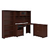 Corner Desk with Hutch, Lateral File Cabinet and 5 Shelf Bookcase