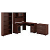L Shaped Desk with Hutch, Lateral File Cabinet and 5 Shelf Bookcase