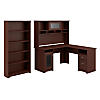 L Shaped Desk with Hutch and 5 Shelf Bookcase