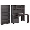 Corner Desk with Hutch and 5 Shelf Bookcase