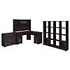 L Shaped Desk, Hutch, 16 Cube Bookcase, and Lateral File Cabinet