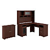 L Shaped Desk with Hutch and Small Storage Cabinet with Doors