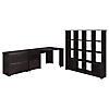 Corner Desk, 16 Cube Bookcase and Lateral File Cabinet