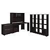 Corner Desk, Hutch, 16 Cube Bookcase, and Lateral File Cabinet