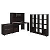 Corner Desk, Hutch, 16 Cube Bookcase, and Lateral File Cabinet