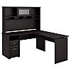 60W 3 Position L Shaped Sit to Stand Desk with Hutch