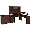 60W 3 Position L Shaped Sit to Stand Desk with Hutch and File Cabinet