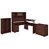 60W 3 Position L Shaped Sit to Stand Desk with Hutch and Storage