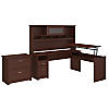 72W 3 Position L Shaped Sit to Stand Desk with Hutch and File Cabinet