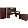 72W 3 Position L Shaped Sit to Stand Desk with Hutch and Storage