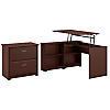 3 Position Sit to Stand Corner Bookshelf Desk and Lateral File Cabinet