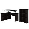 3 Position Sit to Stand Corner Bookshelf Desk with 6 Cube Organizer