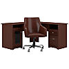 60W L Shaped Desk with Mid Back Leather Box Chair
