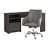 60W Corner Desk with Mid Back Leather Box Chair
