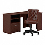 60W Corner Desk with Mid Back Tufted Office Chair