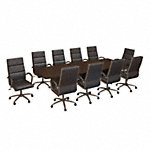 120W x 48D Boat Shaped Conference Table with 10 Chairs