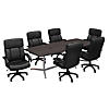 96W x 42D Boat Shaped Conference Table with Set of 6 Office Chairs