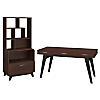 60W Writing Desk with File Cabinet and Bookcase Hutch