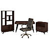 60W Writing Desk with File Cabinet, Bookcase and Chair