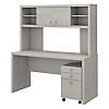 Credenza Desk with Hutch and Mobile File Cabinet