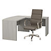 L Shaped Bow Front Desk with High Back Office Chair