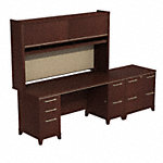 72W X 30D Double Pedestal Desk with Hutch and Lateral File
