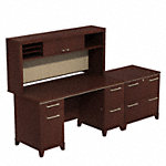 60W Office Desk with Hutch and Lateral File Cabinet