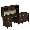72W Office Desk with Hutch and 2 Drawer Lateral File Cabinet