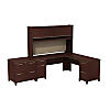 72W x 72D L Shaped Desk with Hutch and Lateral File Cabinet