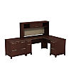 60W x 60D L Shaped Desk with Hutch and Lateral File Cabinet