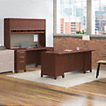 72W X 30D Double Pedestal Desk with Credenza and Hutch