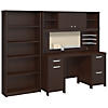 Office Desk with Hutch, 2 Pedestals and Bookcase