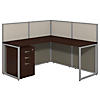 60W L Shaped Desk Open Office with Mobile File Cabinet