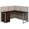 60W L Desk Open Office with 3 Drawer Mobile Pedestal